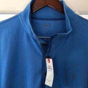 IZOD Saltwater 4 Button Blue  Light Fleece. L